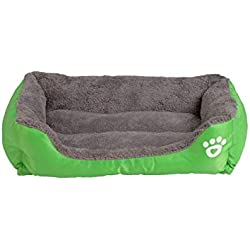 S 3XL 9 Colors Pet Sofa Dog Beds Waterproof Bottom Soft Fleece Warm Cat Bed House Petshop,Green,XXL