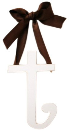 New Arrivals Wooden Letter T with Solid Brown Ribbon, Cream