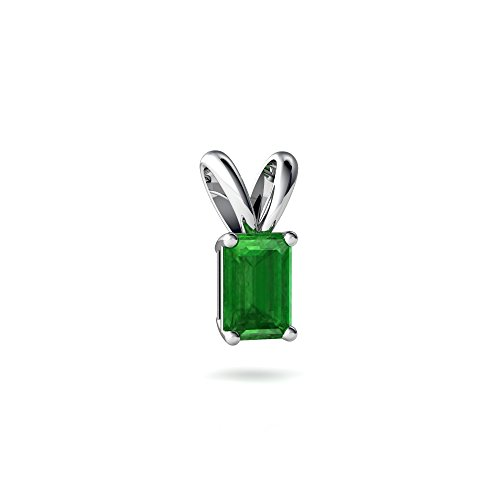 14kt White Gold Emerald 6x4mm Emerald_Cut Solitaire Pendant 14kt Gold 6x4 Emerald
