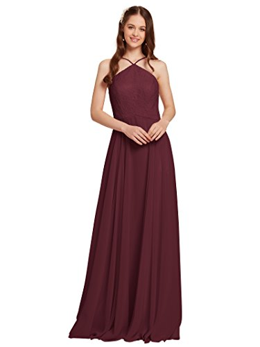 - AWEI Lace Embellished Bridesmaid Dresses Long Prom Dresses Women's Chiffon Evening Gown 2018, Burgundy, US18