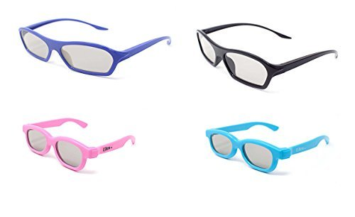 Bush Tv Review (Family pack of 4 Pairs of Passive 3D Glasses 2 adults 2 with1 Black 1 Purple in Easy 3D style and 1 Pink 1 Blue for kids for all Passive TVs Cinema)