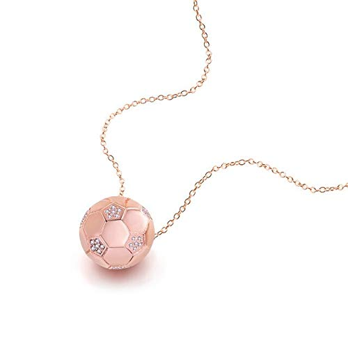 Davitu Wholesale 2018 World Cup Souvenirs 100% Solid 925 Sterling Silver Football Necklace Women Pendant Chain Sterling Silver Jewelry - (Metal Color: Rose Gold Color) (Sterling Silver Chain By The Foot Wholesale)