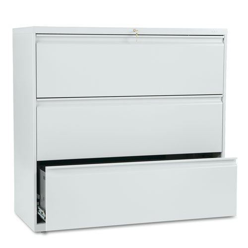 HON 893LQ 800 Series 42 by 19-1/4-Inch 3-Drawer Lateral File, Light Gray by HON