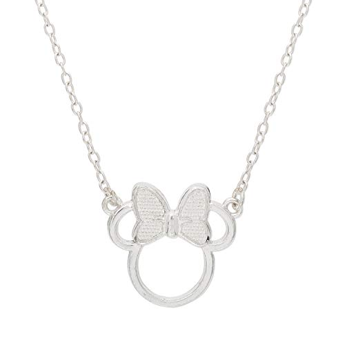 "Disney Minnie Mouse Sterling Silver Silhouette Pendant Necklace, 18"" chain, Mickey's 90th Birthday Anniversary for $<!--$34.99-->"