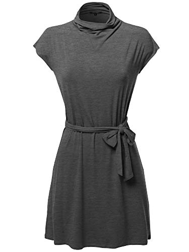 - Awesome21 Casual Solid Loosed Mock Neck Cap Sleeves Belted Dress Charcoal Size S