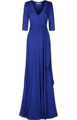 Bon Rosy Women's #MadeInUSA 3/4 Sleeve V-Neck Solid Maxi Wrap Dress Summer Wedding Guest Party Bridal Baby Shower Maternity Nursing Royal Blue L(DJ51504-S)