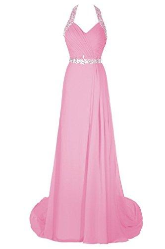 Dresstore Women's Halter Beaded Prom Evening Dress Long Chiffon Bridesmaid Dress Pink US 18Plus