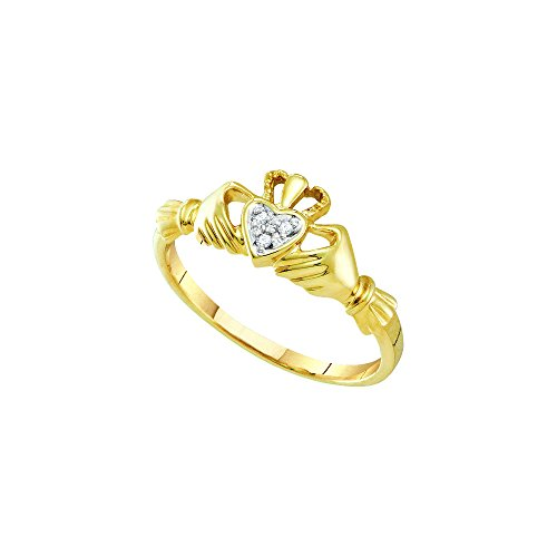 14kt Yellow Gold Womens Round Diamond Dainty Claddagh Heart Ring .01 Cttw by JawaFashion