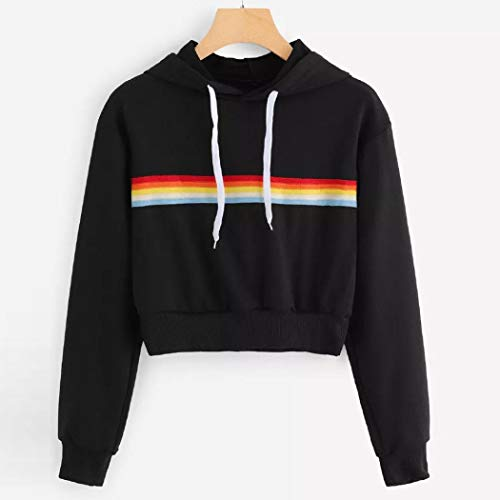 Lunga Felpe Shirt Sportiva Ragazza T Crop Top Elegante Nero Calcio Sweatshirt Donna Giacca Manica Fitness Ragazza Pullover Cotone Rainbow Yoga Tumblr Maglietta Camicette Corte Tr1qvT