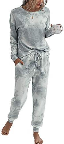 Fanyarie Womens Tie Dye Printed Long Sleeve Tops and Pants Long Pajamas Set Joggers PJ Sets Nightwear Loungewear