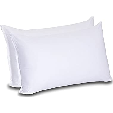 Cotton Zippered Pillow Cases (Queen, White) - 20 by 30 Inches Pillow Cover - Pillow Protector in Pack of 2 - Pillow Encasement by Utopia Bedding