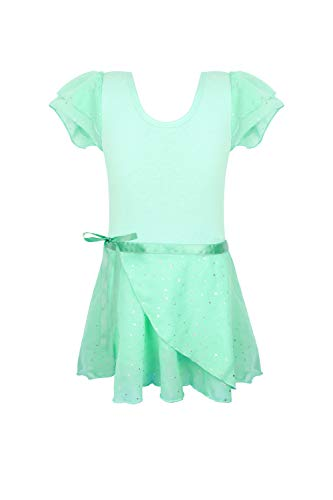 Toddler girls leotards for ballet green 2t 3t toddlers dance dresses skirted leotards Ruffle Sleeve Sparkly Sequins aqua light green