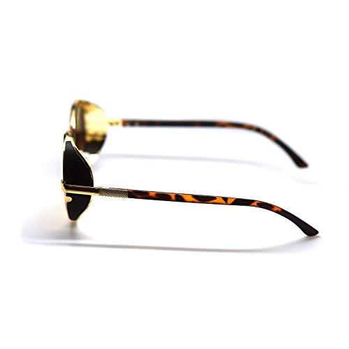 argent obturateur brun avec lentilles soleil UVA Imprimé léopard or Steampunk noir Adultes brunes lunettes miroir des tigre UVB bleu Protection de SO5zU4qwx