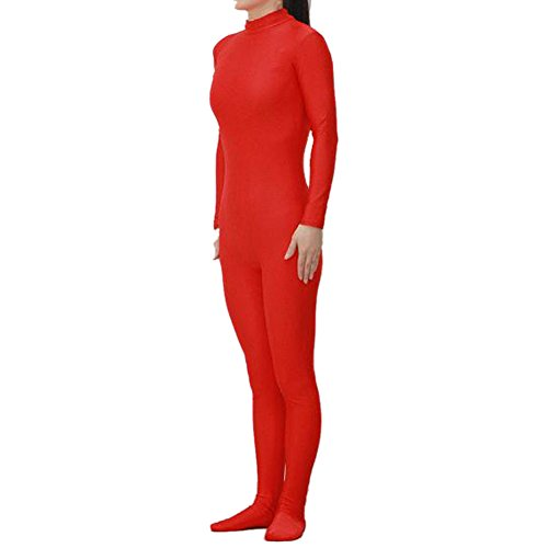 [Muka Adult Lycra Zentai Unitard Bodysuit Halloween Catsuit Dancewear - Red,L] (Madonna Costume Plus Size)