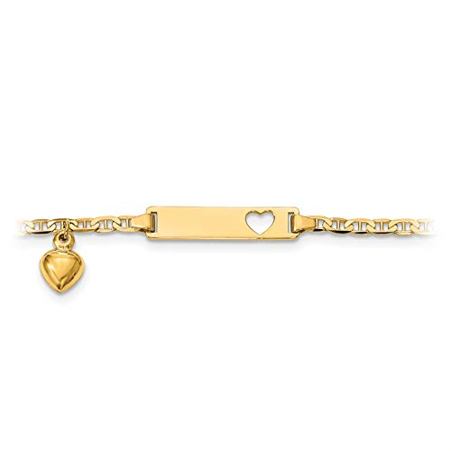 (Brilliant Bijou Children's 14k Yellow Gold Baby Personalized ID Bracelet Heart Dangle Anchor Chain Lobster Clasp - 6 inches)