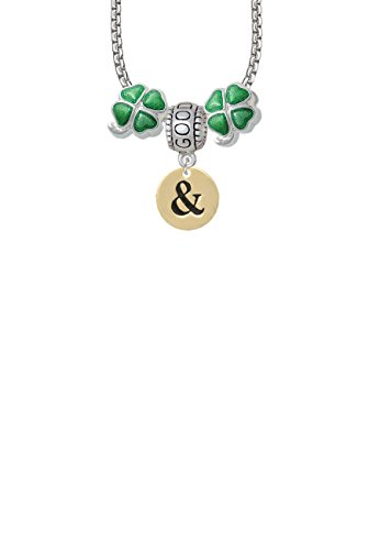 1/2' Enamel Jewelry Pendant - Gold Tone Disc 1/2'' - Symbol - Ampersand - & - Good Luck and Clover 3 Bead Necklace