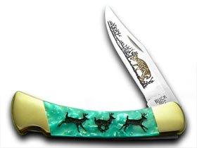 BUCK 110 Custom Turquoise Mist Corelon Running Deer 1/400 Pocket Knife Knives by Buck