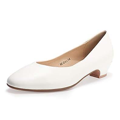IDIFU Women's ROI Cloris Dress Square Toe Low Chunky Heel Office Work Pump Shoes (White Pu, 5)
