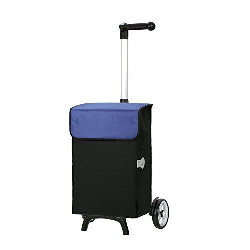 Andersen Einkaufstrolley Unus Fun mit 3-Wege-Griff & Einkaufstasche Bob schwarz mit Wechseldeckel blau   Trolley Aluminiumgestell 1Rjm4