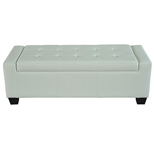 Eight24hours Modern Faux Leather Ottoman Footrest Sofa Shoe Storage Bench Seat - White + FREE E-Book (Union Jack Futon)