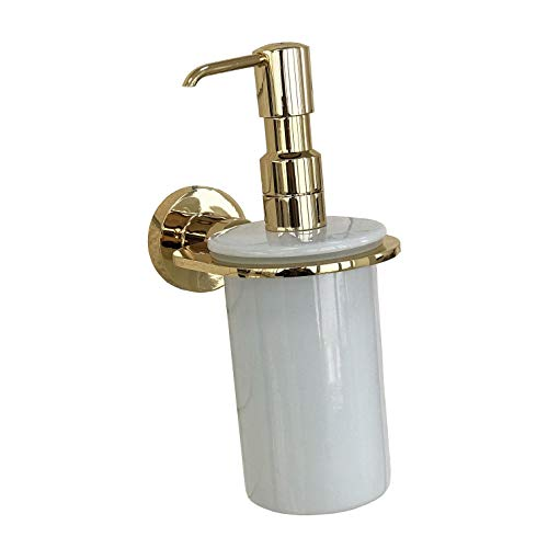 Wall Mounted Soap or Lotion Dispenser with Porcelain-Gold Bathroom Decor-Brass Bathroom Accessories (Gold)