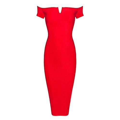 Vom Verband Ausschnitt Weg Rot mit Schulter Kunstseide Damen V HLBandage Kleid wXxqStg8w