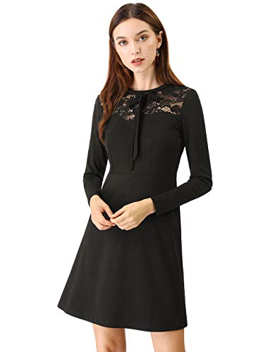 70 Dress Attire (Allegra K Women's Elegant Long Sleeve A-Line Party Cocktail Formal Lace Dress S)