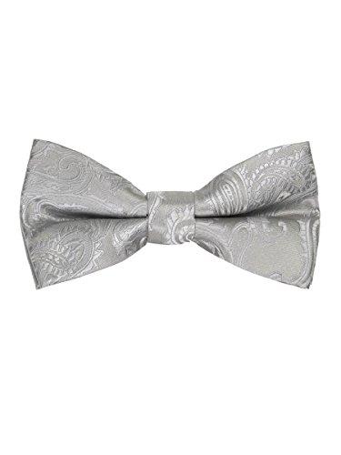 Silver Mens Bowties (Men's Paisley Pre-Tied Bow Tie - Silver)