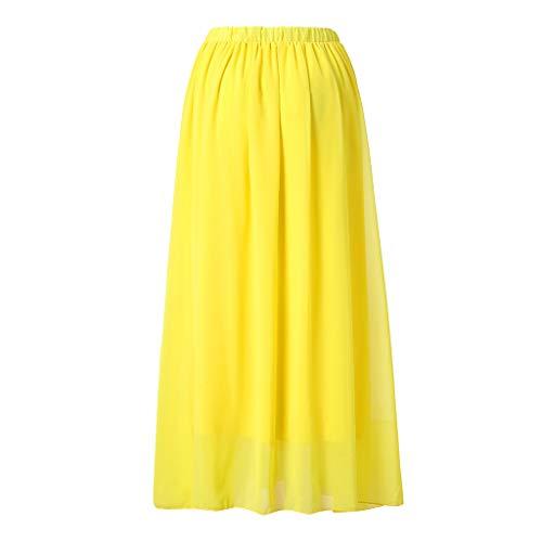 Jean Skirt Skort (Long Skirt Women Bohemian Hippie Boho Dresses Maxi Big Hem Solid Color Chiffon Skirts (XXL, Yellow))