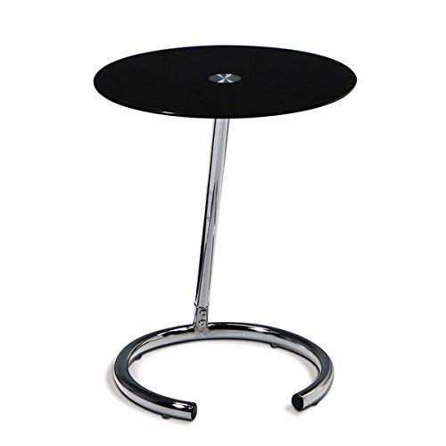Pedestal Telephone Table Stylish Chrome Legs Made to Match the Most Elegant of Room Setups Black Glass Accent Table with Chrome Finished Base by eCom Fortune (Image #4)