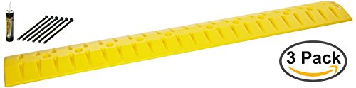 - 3x Eagle 1792 6' High Density Polyethylene Speed Bump - Cable Guard with Anchor Kit, Yellow, 72