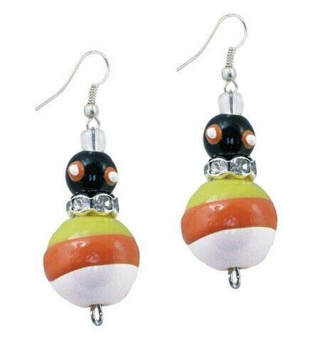 Trick R Treat Candy Corn Halloween Rhinestone Glass Beaded Kate Macy Earrings -