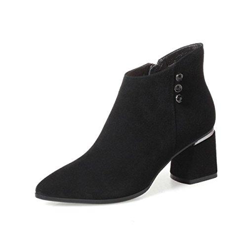 Chaussures Bottes Hauts Cuir Talons Des Des Fin Mat Bottes À Hiver Noirs La Tendon En D'automne À Et aBAOIx