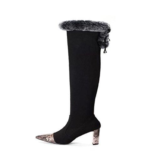 Kitzen Womens Ladies Thigh High Boots Over The Knee Sheepskin Scrub Autumn and Winter Party Banquet Heel Size, 37, Black