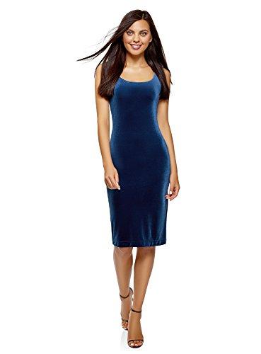 oodji Ultra Women's Velvet Cami Dress, Blue, - Velour Blazer