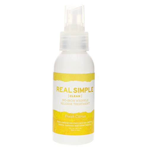 Real Simple Clean Travel-Size Wrinkle Release, Static Cling Remover, Pillow & Fabric Freshener, Out The Door No-Iron Quick Fix, USDA Certified Biobased Product, Made in USA, Fresh Citrus Scent, 3 oz