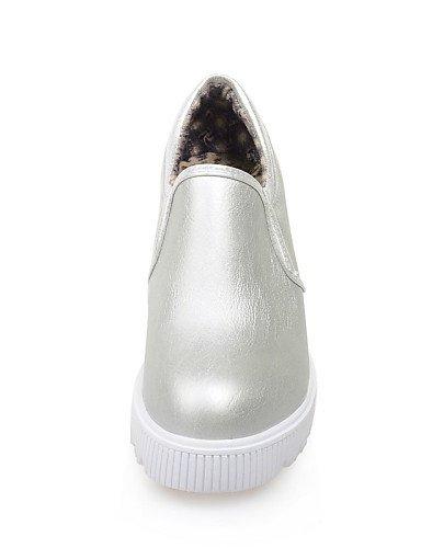 Plata Uk6 Punta Cn40 Zapatos Beige Silver Semicuero 5 Eu39 Mocasines Zq 5 us8 Mujer Plataforma Casual Redonda Negro De 1vUdxnRa