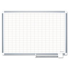 ** MasterVision Grid Planning Board, 1x2'' Grid, 36x24, White/Silver **