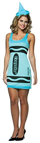 Rasta Imposta Womens Crayola Crayon Tank Dress Sky Blue Comical Fancy Costume, One Size (4-10)