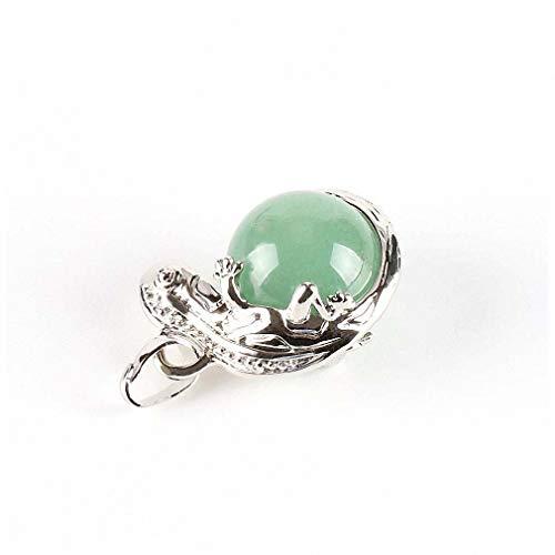 (Xileg Men Jewellery Lizard Gecko Animal Necklaces Pendants Natural Stone Beaded Round Ball Opal Lapis Lazuli Women Jewelry E286 Green Aventurine)