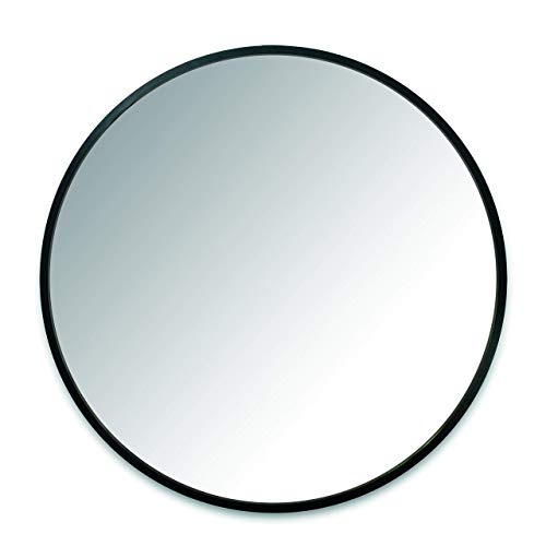 Umbra Hub Wall Mirror With Rubber Frame - 24-Inch Round Wall Mirror for Entryways, Washrooms, Living Rooms and More, Doubles as Modern Wall Art, Black (Renewed) (Black Round Mirror Wall)
