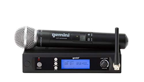 Gemini Lightweight Wireless Microphone System with UHF Single Channel Receiver, 1 Handheld Microphone