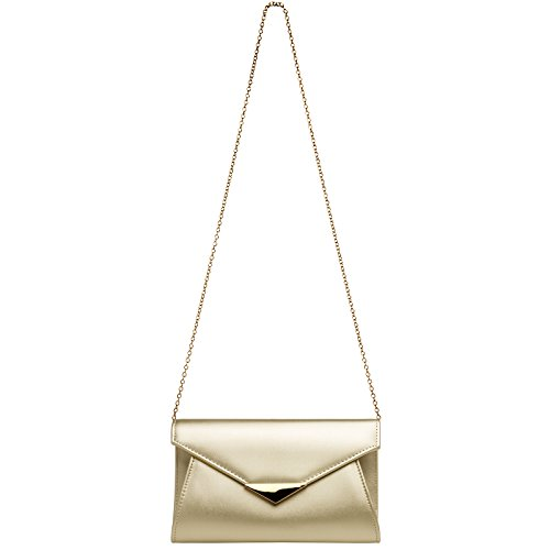 and with Bag Clutch Decor CASPAR TA363 Champagne Chain Envelope Metal Ladies Elegant Evening U0v0Ywx