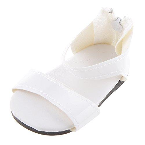 1 Paire Zip Blanc Chaussures Retour Sandale Pour Poupées 18 Pouces