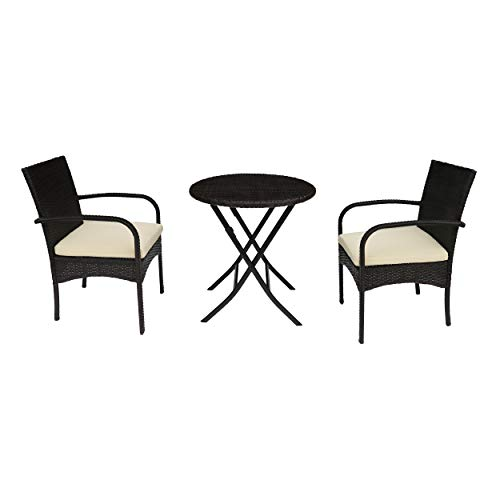- Great Deal Furniture Kevin Outdoor 3 Piece Wicker Bistro Set, Multi Brown with Cream Cushion