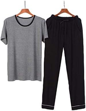 ンパジャマ メンズ夏のパジャマは、ラウンドネック薄いパジャマのボタン部屋着モーダル半袖パンツパンツナイトウェアPJの設定を設定します。 -4561