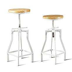 Farmhouse Barstools Set of 2 Pack-Modern Industrial Bar Stool-White Metal Swivel Brown Wood Seat-23.62-29.53 Inch Seat Height-Adjustable… farmhouse barstools