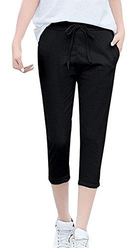 Pantaloni Fashion Chic Stoffa 8 Peso Donna Estivi Coulisse Monocromo Leggero Con Vita Di Eleganti Donna Elastica Per Pantaloni Pantaloni Accogliente Pantaloni Black2 Abbigliamento Ragazza 7 Pantaloni 1Rqw6Rv