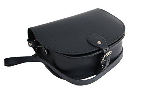 Matt Schwarz Echtes Leder Sattel Crossbody Handtasche mit Schnalle und verstellbarem Gurt