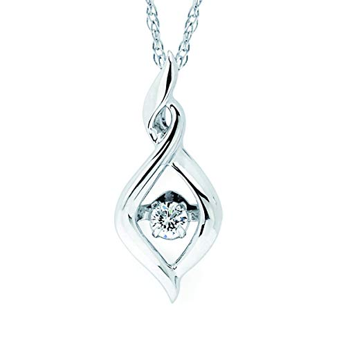 """Brilliance in Motion 925 Sterling Silver Dancing Diamond Dainty Infinity Pendant Necklace, 18"""" (.08 cttw., I Color, I1 Clarity)"""